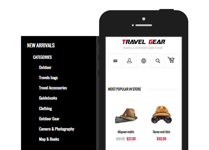 Off-canvas navigation in Responsive Magento theme TravelGear