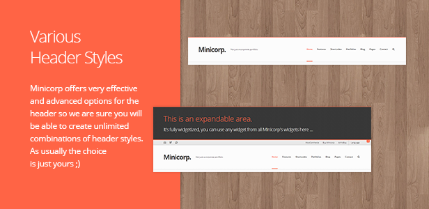 Header Styles. Minicorp offers very effective and advanced options for the header so we are sure you will be able to create unlimited combinations of header styles. As usually the choice is just yours ;)
