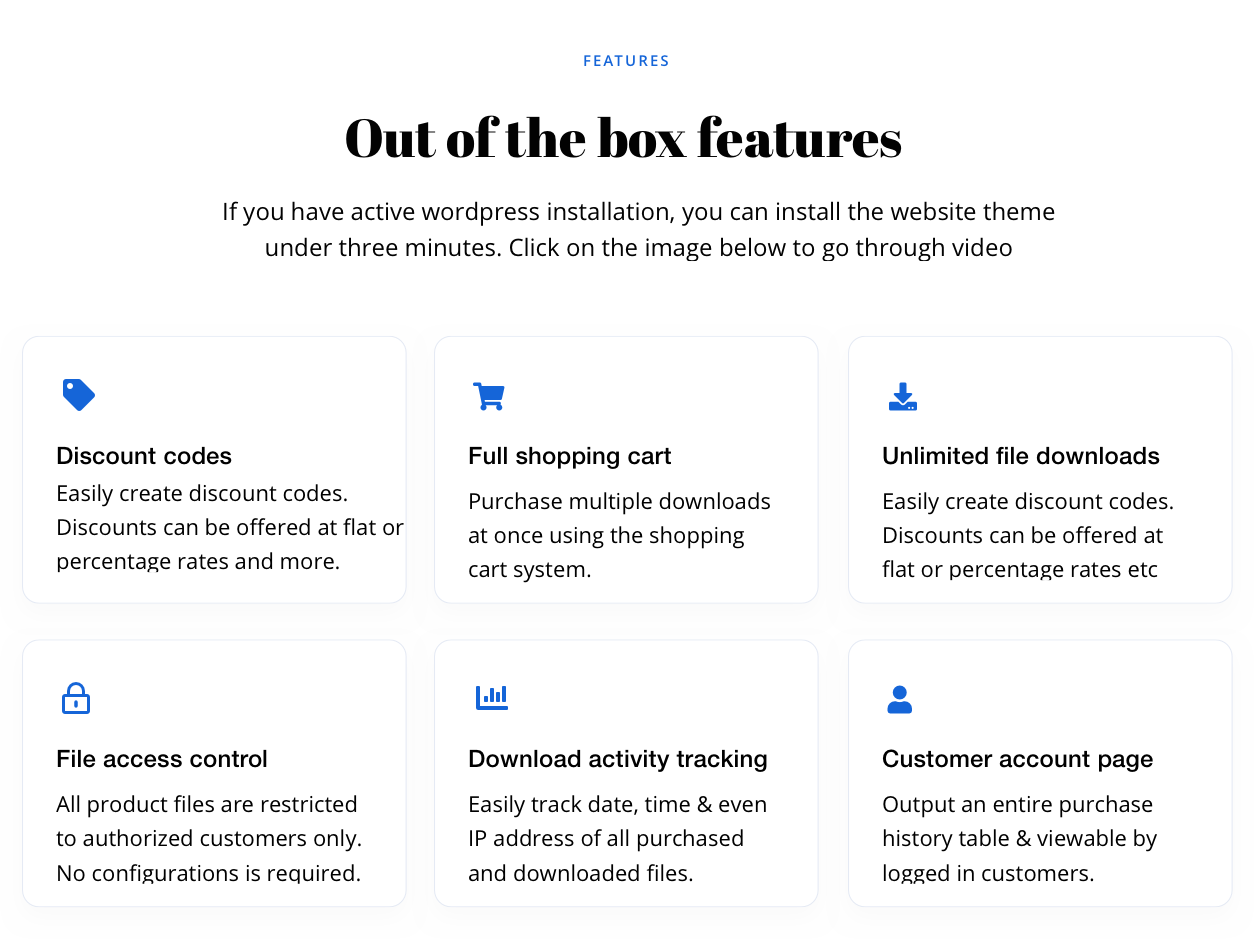 Out of the box features