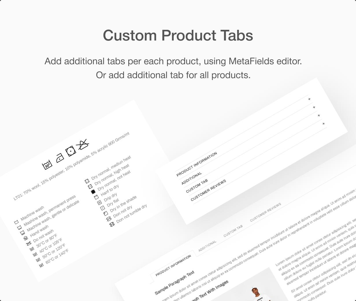 Custom product tabs at Shella Shopify theme