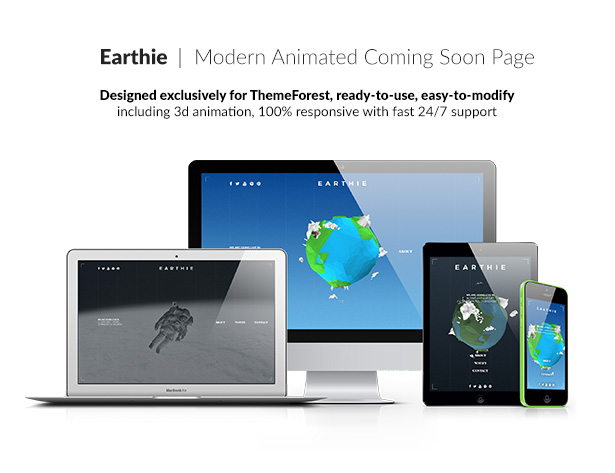Earthie - Creative 3D Coming Soon Template - 1