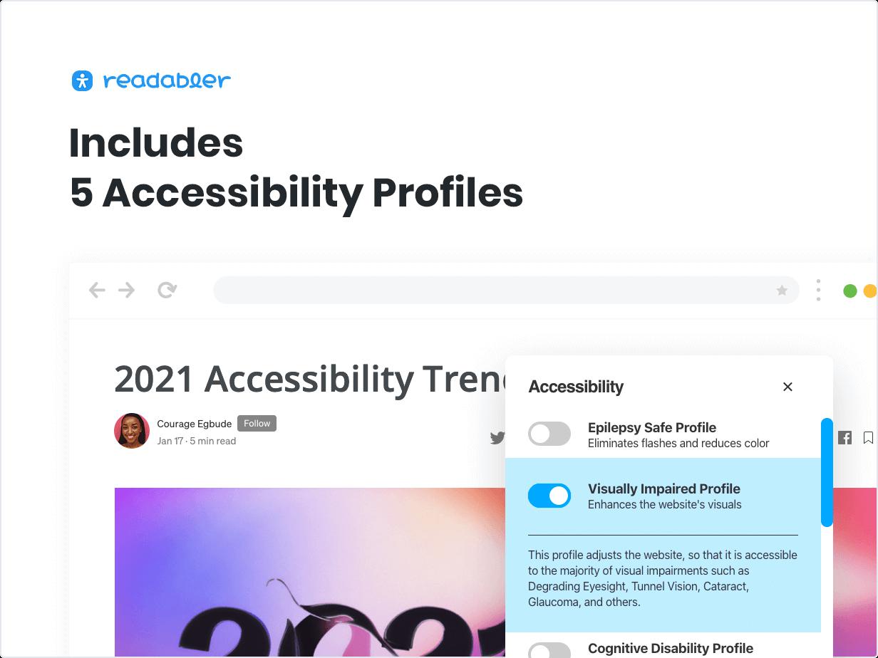 Includes 5 Accessibility Profiles