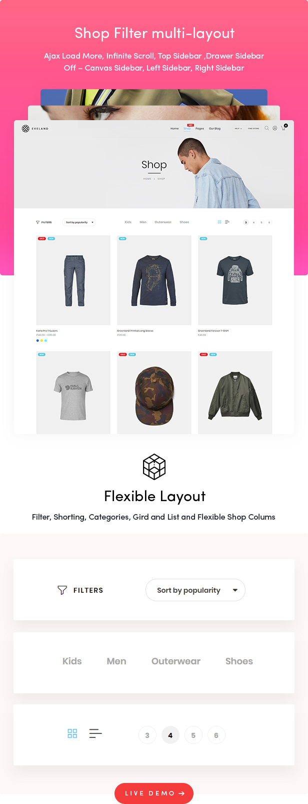 Eveland – Modern AJAX enabled WooCommerce theme (RTL Supported)