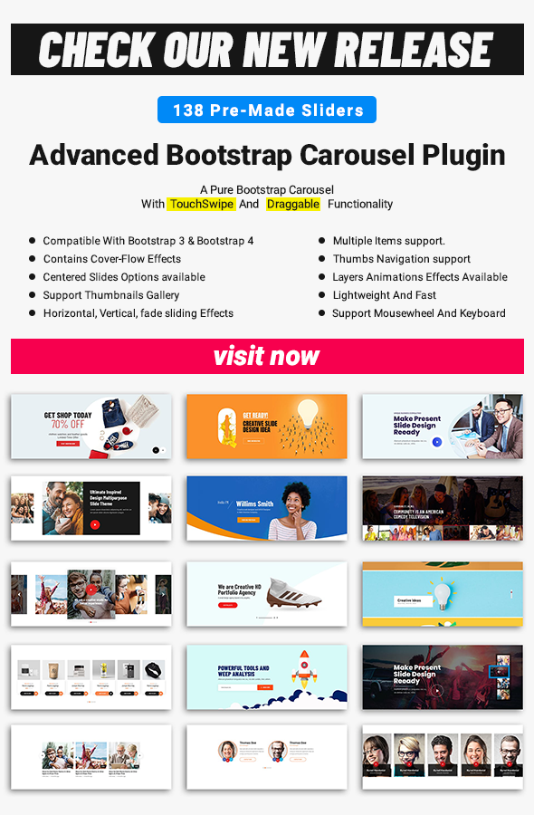 Advanced Bootstrap Carousel Plugin