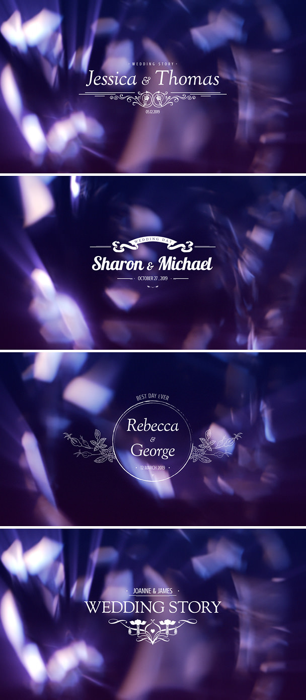 Wedding Titles After Effects Template with bokeh background for elegant videography  project, romantic wedding video