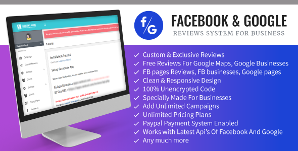 Facebook And Google Reviews System For Businesses