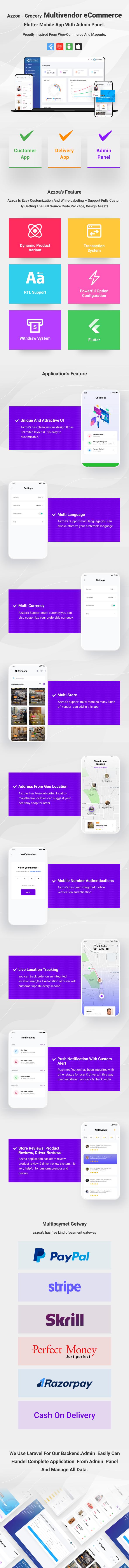 azzoa grocery, eCommerce mobile app