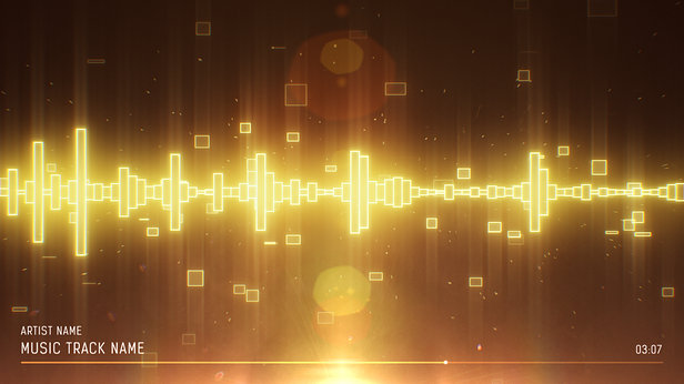 SoundVisible Audio Spectrum Visualizer | Linear Bands Template | Color Preset: Gold
