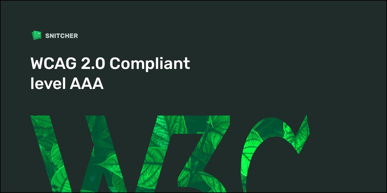 WCAG 2.0 Compliant level AAA