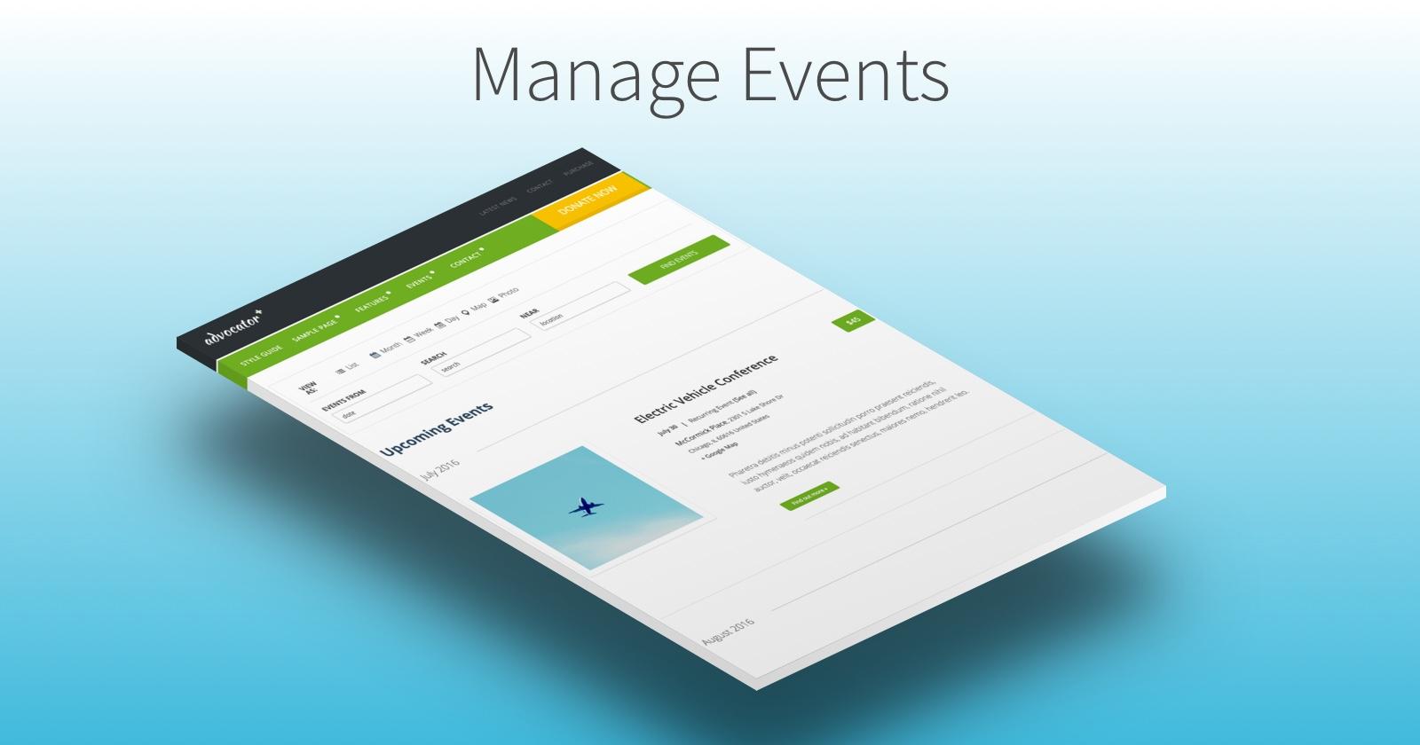 Manage events with Advocator WordPress Theme