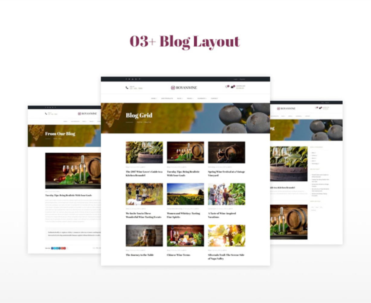 Royanwine Stunning Blog Layout for Vinyard, Winery, Wine Makers, Dairy Farm