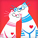 cute cats in love holiday vector greeting card