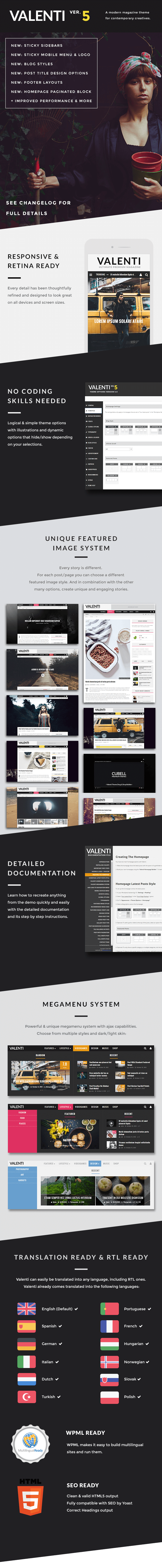 Valenti wordpress magazine theme for 2015 features