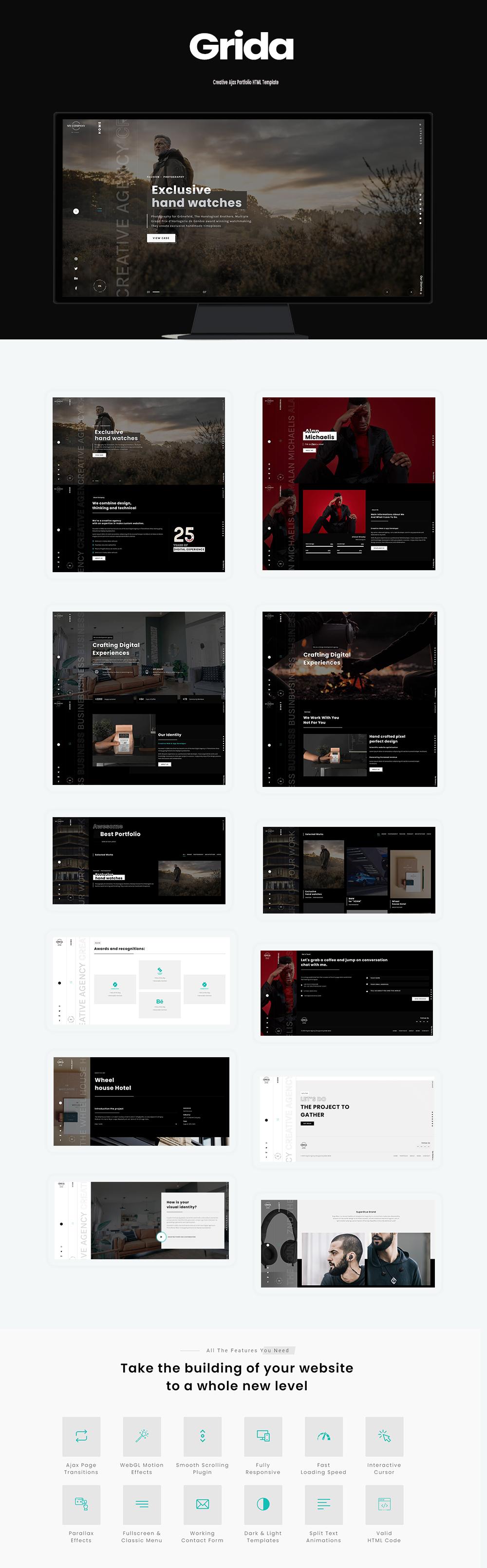 Grida - Creative Agency Ajax Portfolio & personal HTML Template - 1