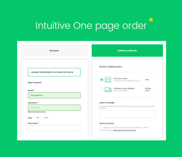 One page order