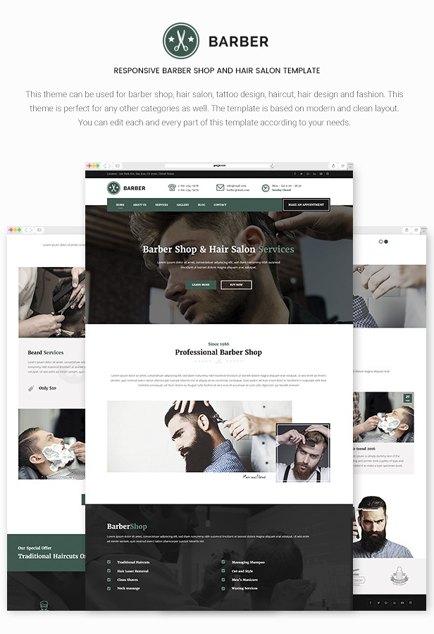 Barber - Responsive Barber Shop and Hair Salon Template - 6
