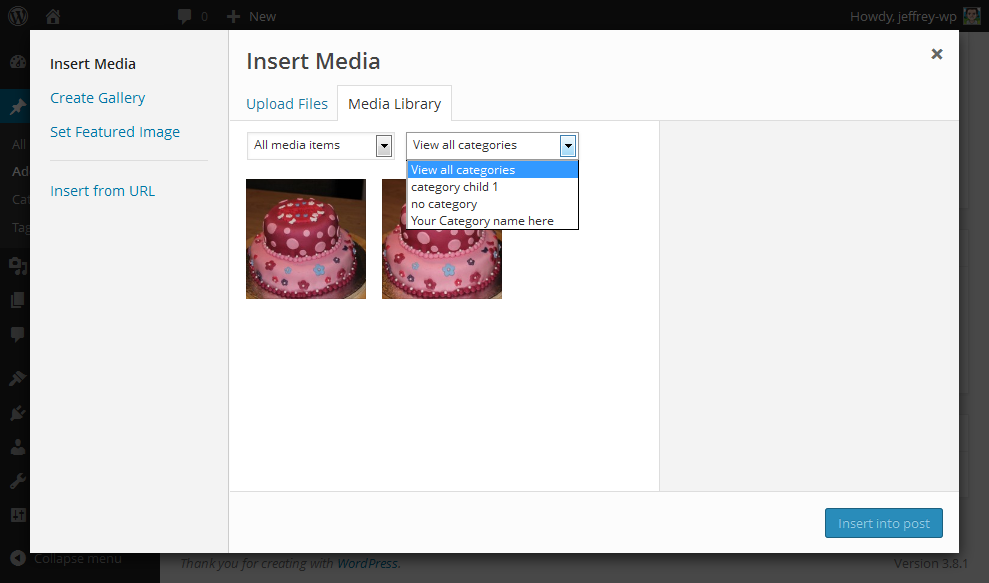 Filter by category when inserting media