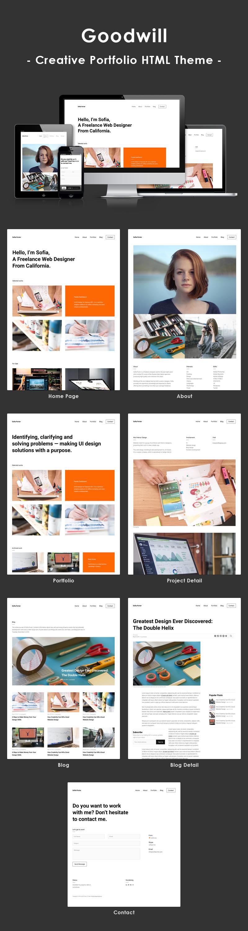 Goodwill – Creative, Clean, Portfolio Template - 1