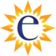 The alphanumeric letter E in blue surrounded by yellow rays of sunshine representing the official logo of Envision Counseling