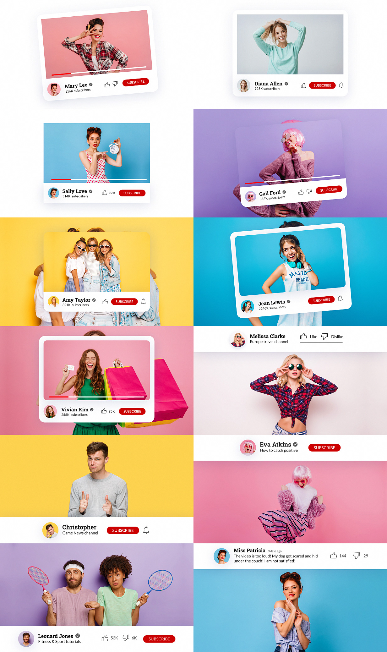 YouTube Buttons Pack - 8