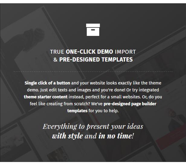 True one-click demo content installation