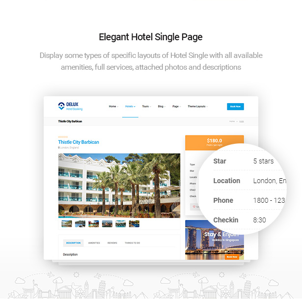 elegant hotel single pages of Delux online Hotel Booking WordPress Theme
