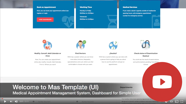 Medical Appointment Management System (UI),Dashboard for Simple User | Mas - 2
