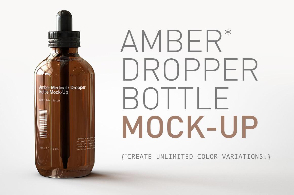 Amber Dropper Bottle Mock-Up