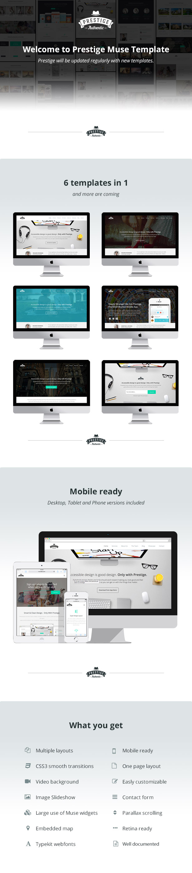 Prestige - Multipurpose Muse Landing Pages