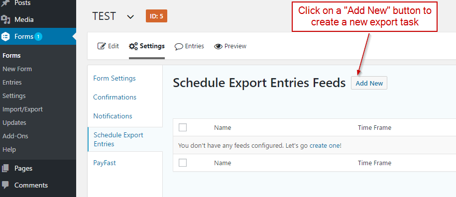 Add new task for export
