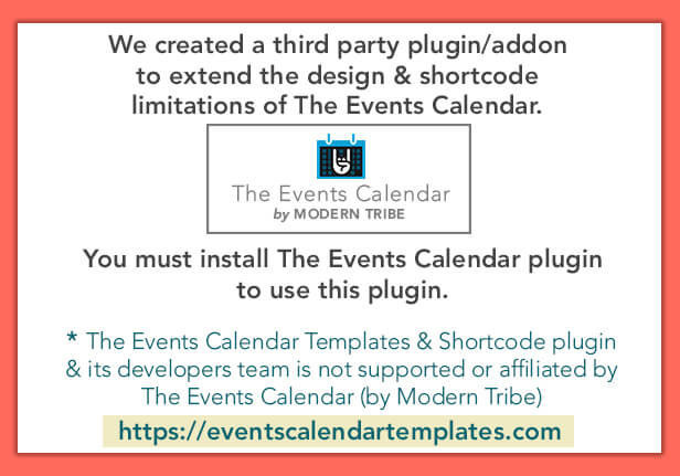 The Events Calendar Shortcode And Templates - Wordpress Plugin By