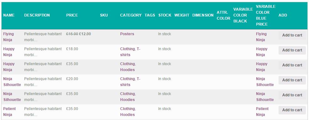 Ürün varyasyonlarını WooCommerc için tabloda görüntüleyin E - 7