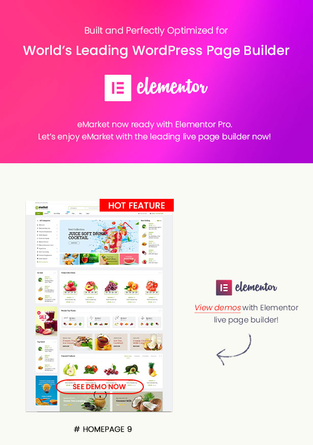 eMarket-多供应商MarketPlace WordPress主题-Elementor
