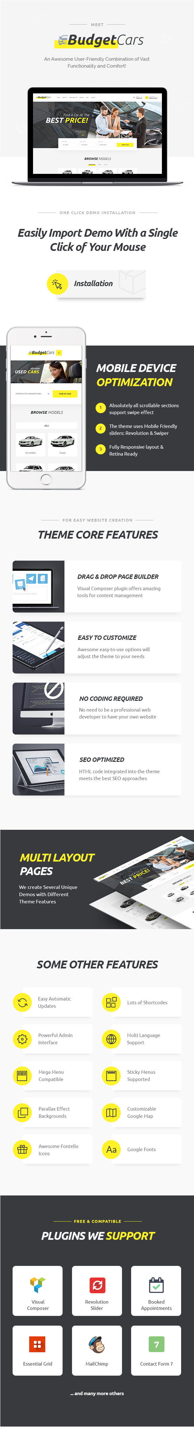 Cars - Used Car Dealer & Store WordPress Theme features