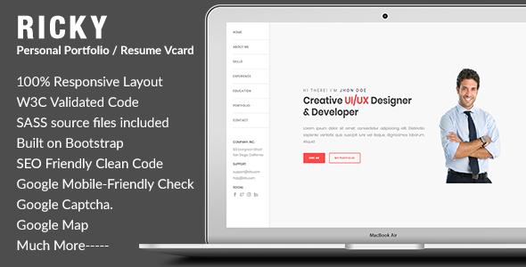 Ricky-Personal Portfolio / Resume Vcard Template