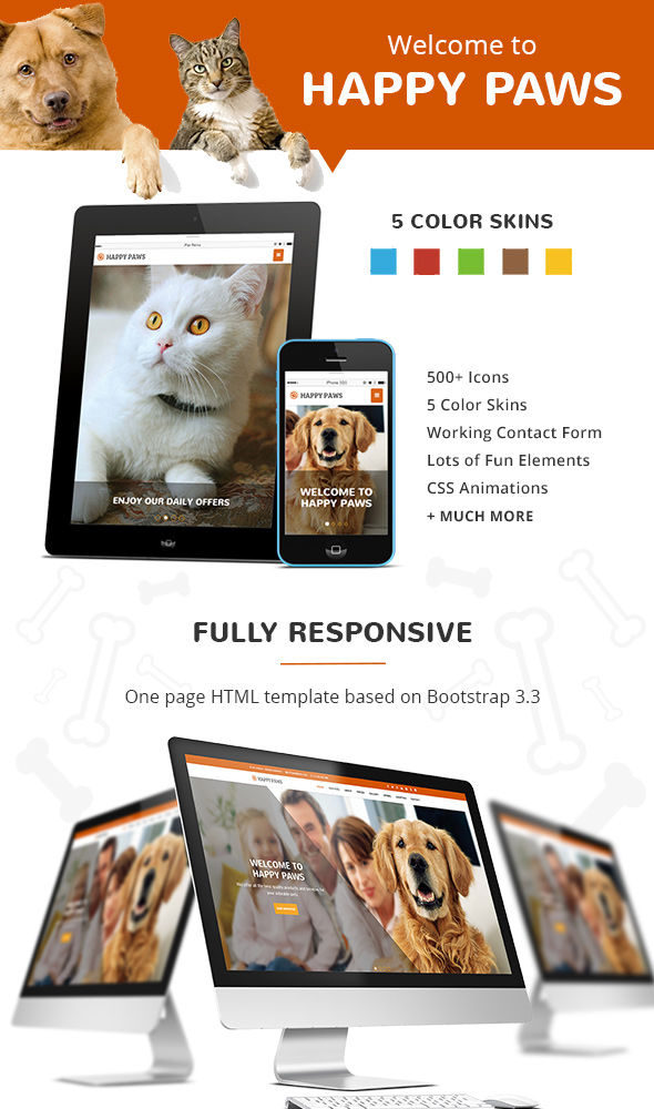 Happy Paws - Pet Responsive One Page HTML - 1