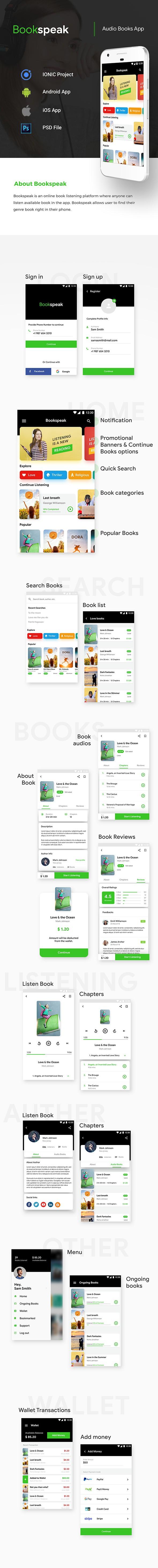 Audio Book Android App + iOS App Template | Bookspeak (HTML+CSS