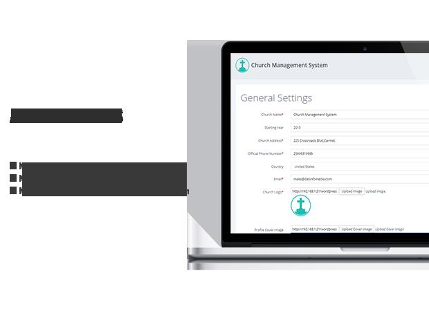 admin settings church plugin wordpress