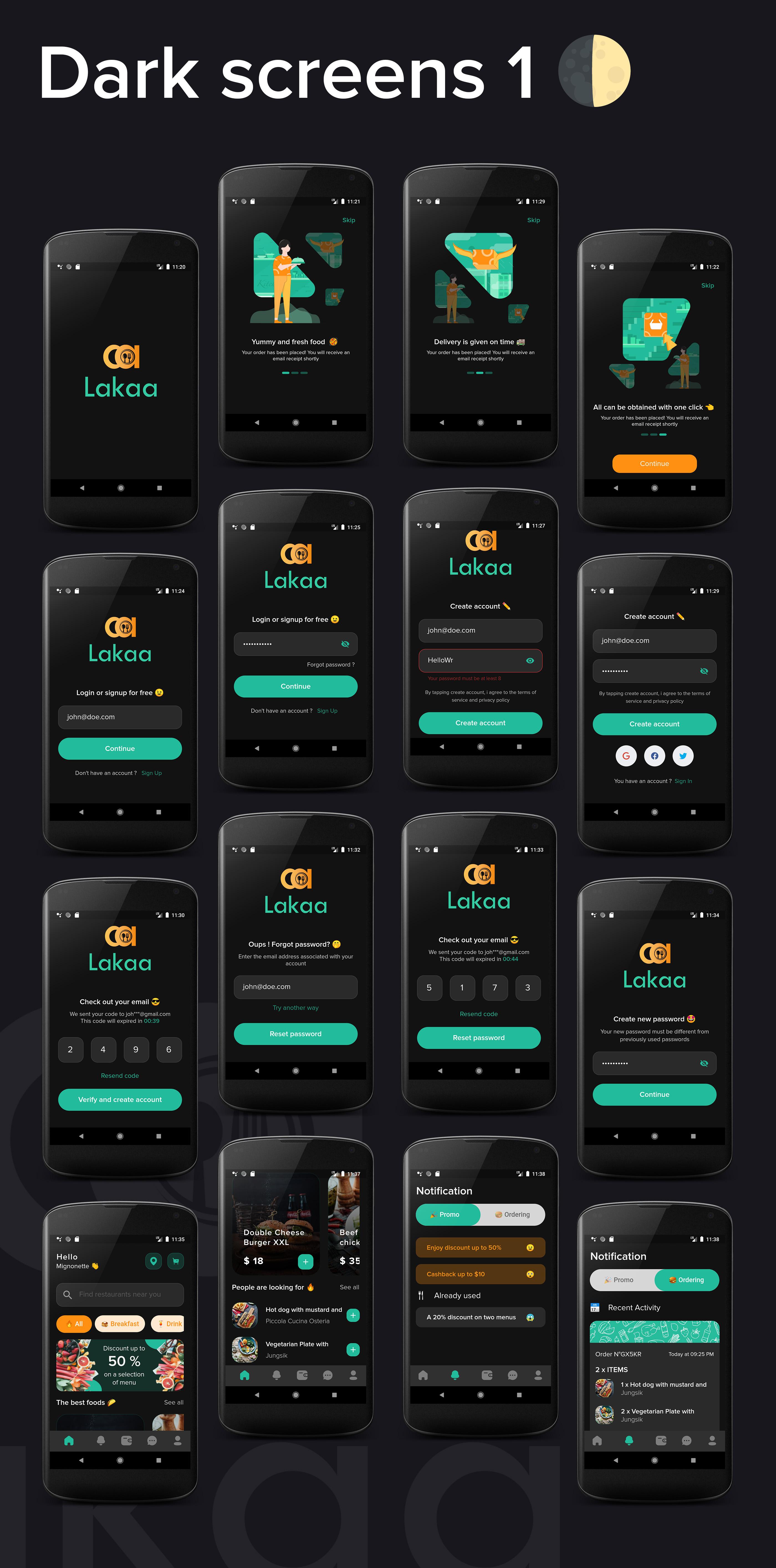 Lakaa food delivery app dark mode screens 1 - flutter ui kit design