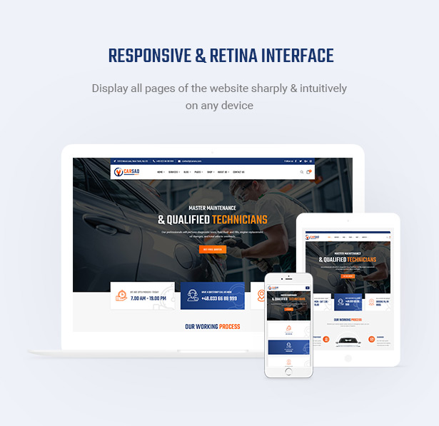 Retina Ready & Mobile Optimization - Carsao - Car Service & Auto Mechanic WordPress Theme