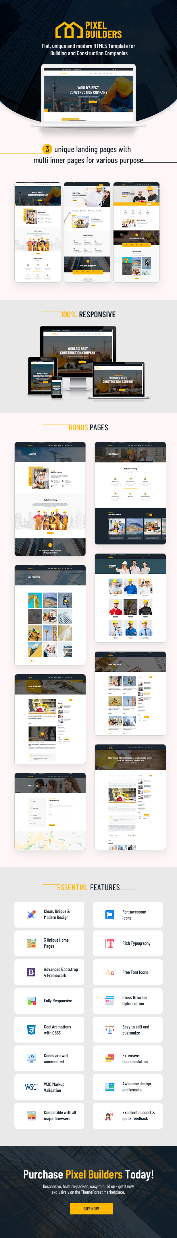 PixelBuilders - Construction HTML Template - 1