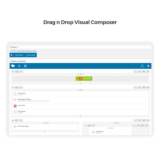 Drag and drop Visual Composer in Corpec Corporate WordPress Theme
