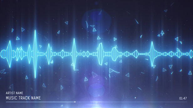 SoundVisible Audio Spectrum Visualizer | Linear Spikes Template | Color Preset: Ice