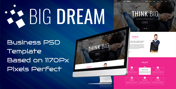 Bigdream One Page Business Psd Template - Corporate PSD Templates