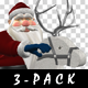 Santa Riding Wooden Reindeer - Pack of 3 - 159