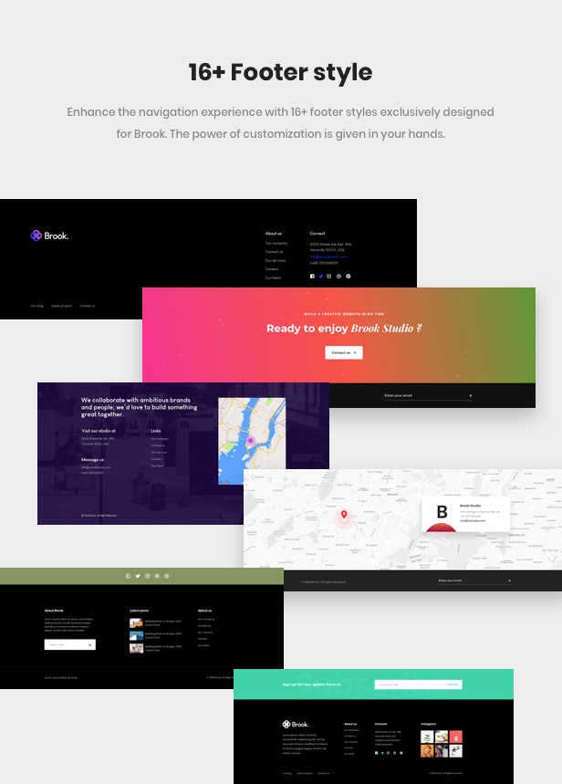 Business Agency WordPress Theme - 16 footer styles