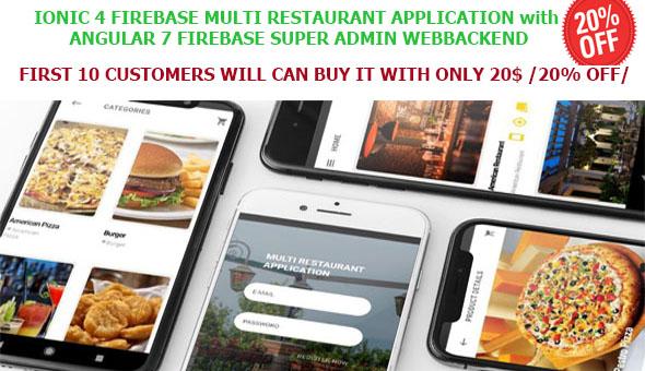 Multi Restaurants IONIC 3 + FIREBASE App / WITH SUPER ADMIN