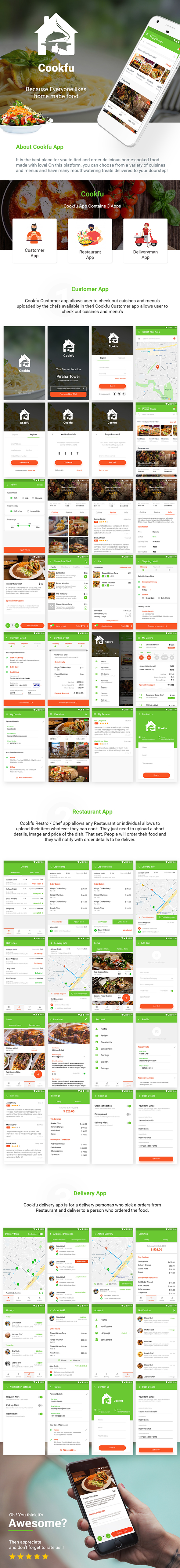 Food Ordering app with Delivery + Restaurant Android App Template | Cookfu (XML Code) - 5