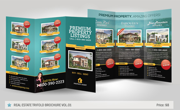 Real Estate Trifold Brochure Vol By Kinzi GraphicRiver   Real Estate Tri  Fold Brochure Template