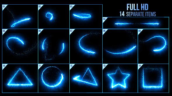 视频素材-50个魔法能量发光线条纹粒子素材包 Elegant Light Streaks With Particles插图3